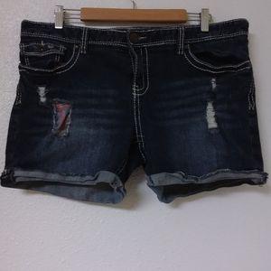 Marurices Thick Stitching Distress Denim Shorts